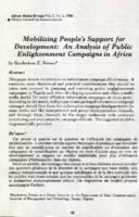 Mobilizing people's support for development : an analysis of public enlightenment campaigns in Africa