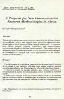A proposal for new communication research methodologies in Africa