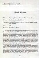 Book review : Reporting Africa: a manual for reporters in Africa. Don Rowlands and Hugh Lewin (eds.). Zimbabwe, Thomson Foundation U.K. and Friedrich Nauman Foundation, 1985
