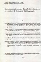Communication for rural development in Africa : a selected bibliography
