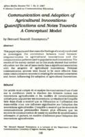 Communication and adoption of agricultural innovations : quantifications and notes towards a conceptual model