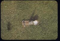 View from above of a Lark soil tensiometer on a turf surface, Penn State, 1950