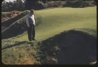 Eb Steiniger viewing bunker on 15th Green, Pine Valley Golf Club, New Jersey, 1953